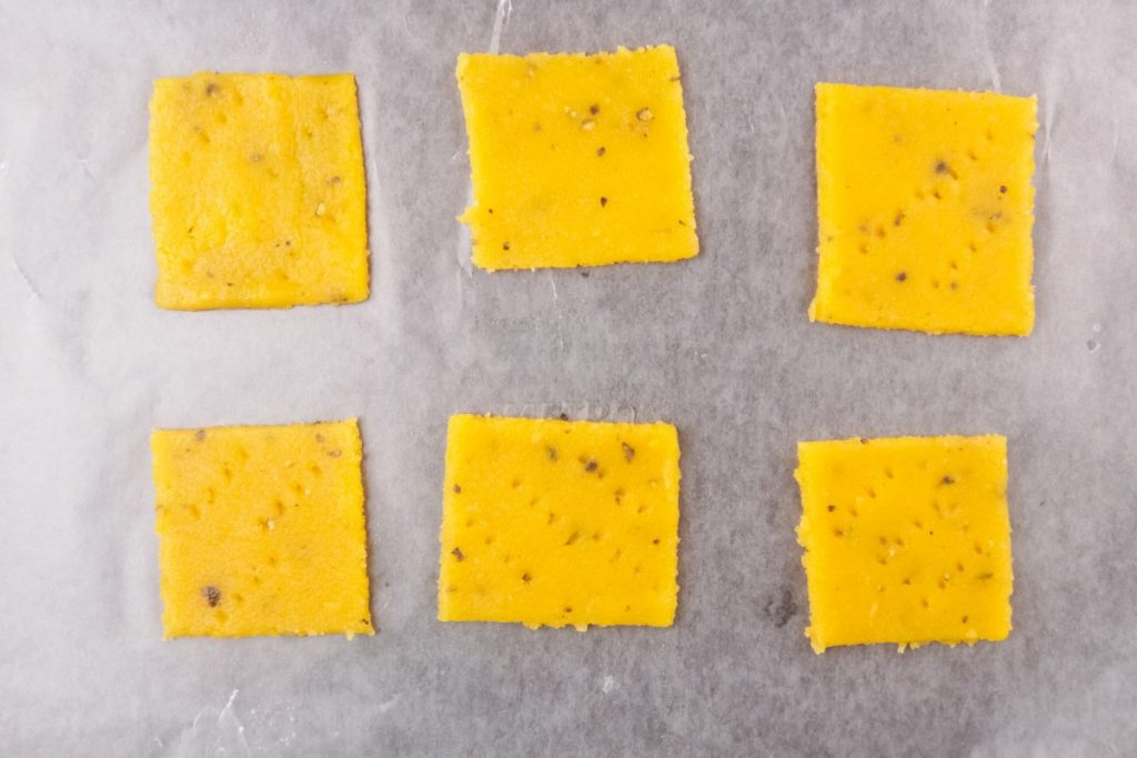 5. Transfer onto the prepared baking sheet and bake for 6-8 minutes
