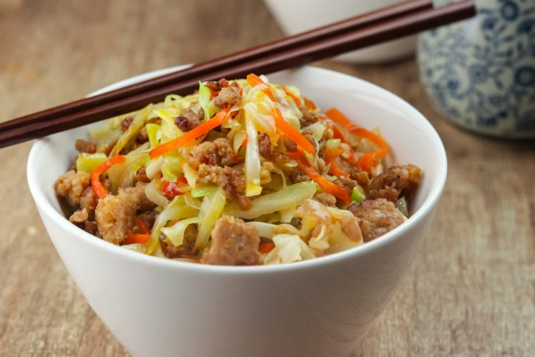 Easy Keto Chili Black Bean Pork and Cabbage Stir-Fry