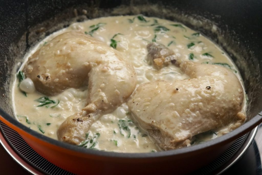 Return chicken into the pan