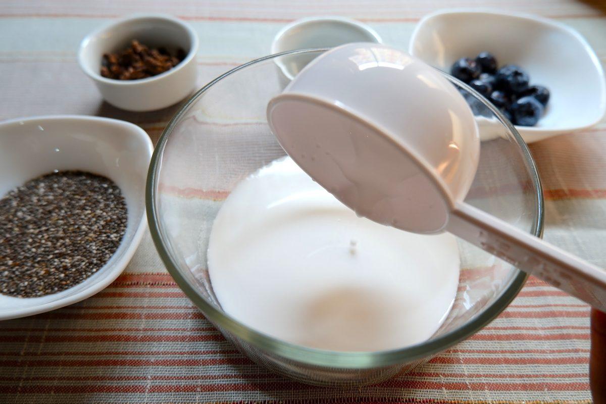 In a small bowl, add coconut milk