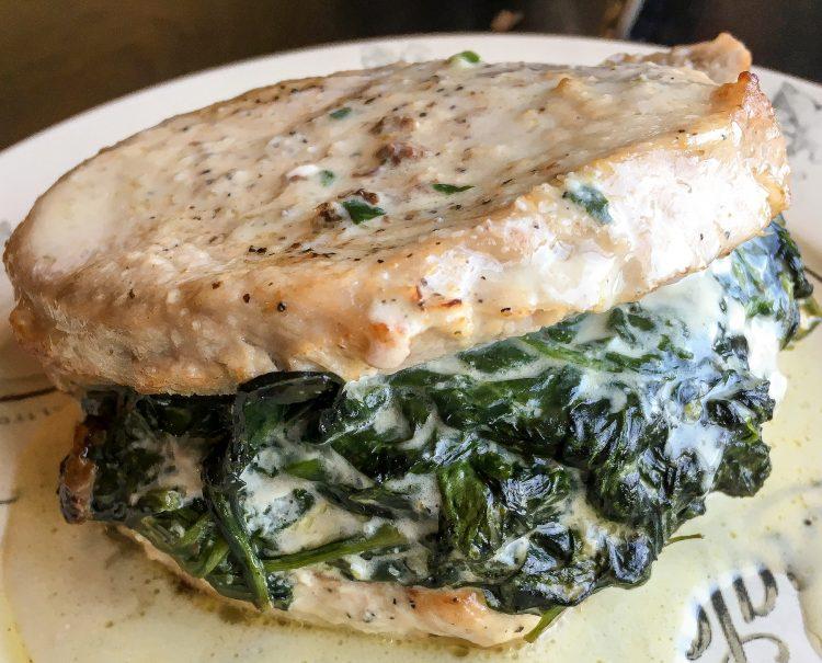 Keto Spinach Stuffed Pork Chops